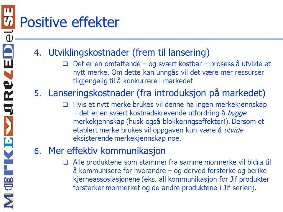 Positive effekter Utviklingskostnader (frem til lansering)