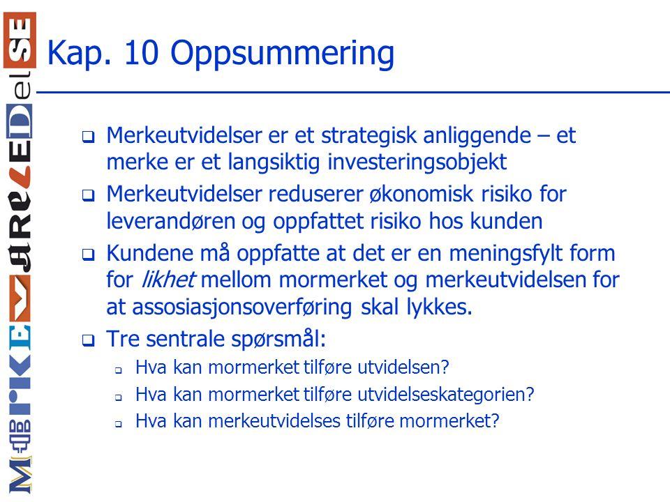 Kap. 10 Oppsummering Merkeutvidelser er et strategisk anliggende – et merke er et langsiktig investeringsobjekt.