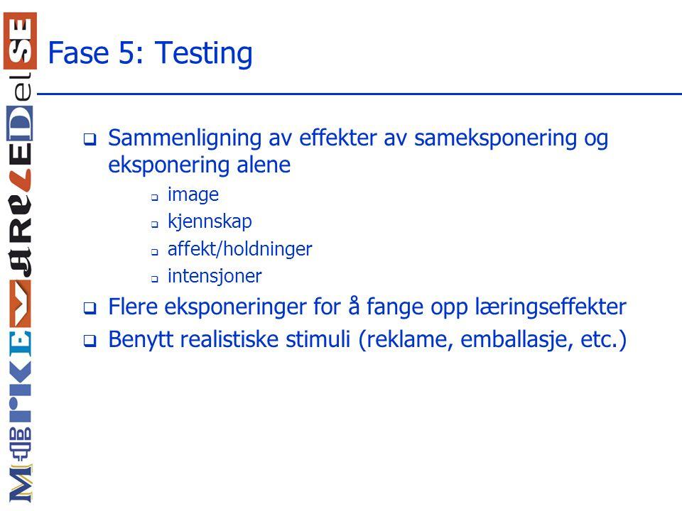 Fase 5: Testing Sammenligning av effekter av sameksponering og eksponering alene. image. kjennskap.