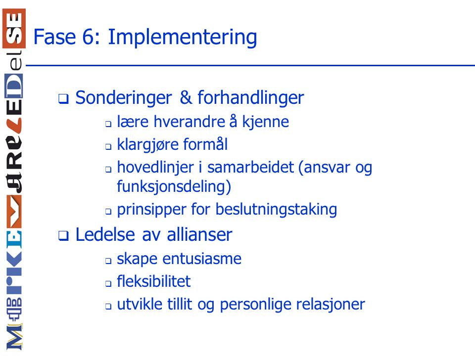 Fase 6: Implementering Sonderinger & forhandlinger
