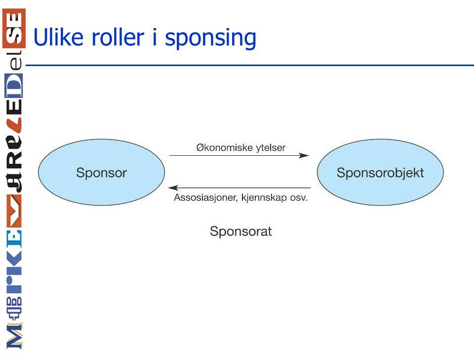Ulike roller i sponsing