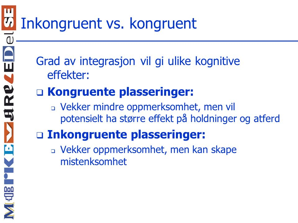 Inkongruent vs. kongruent