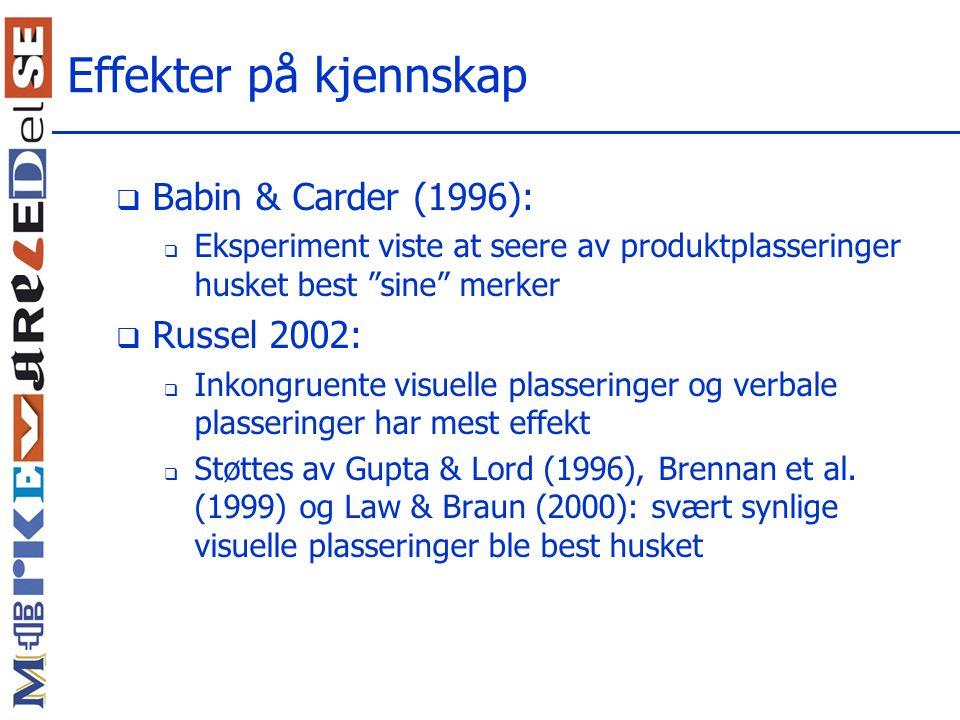 Effekter på kjennskap Babin & Carder (1996): Russel 2002: