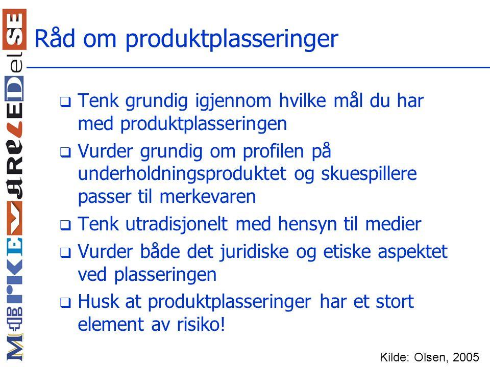 Råd om produktplasseringer
