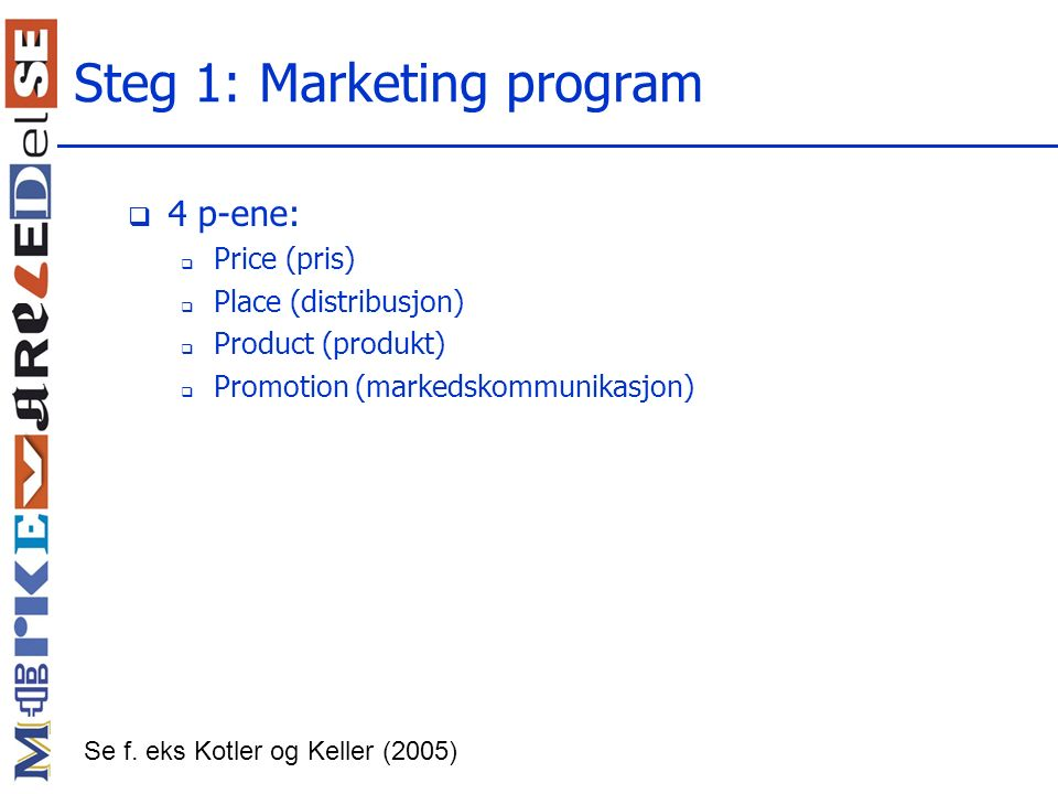 Steg 1: Marketing program