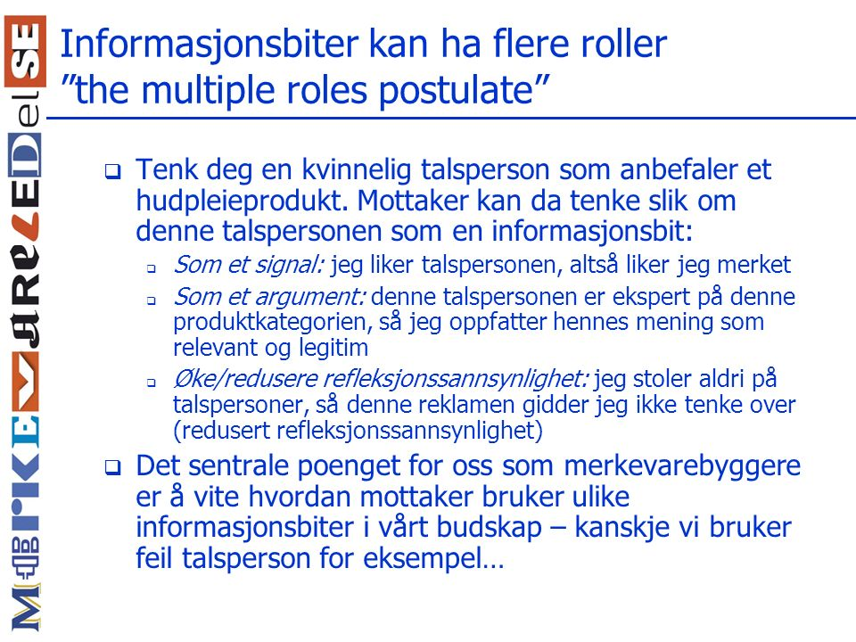 Informasjonsbiter kan ha flere roller the multiple roles postulate