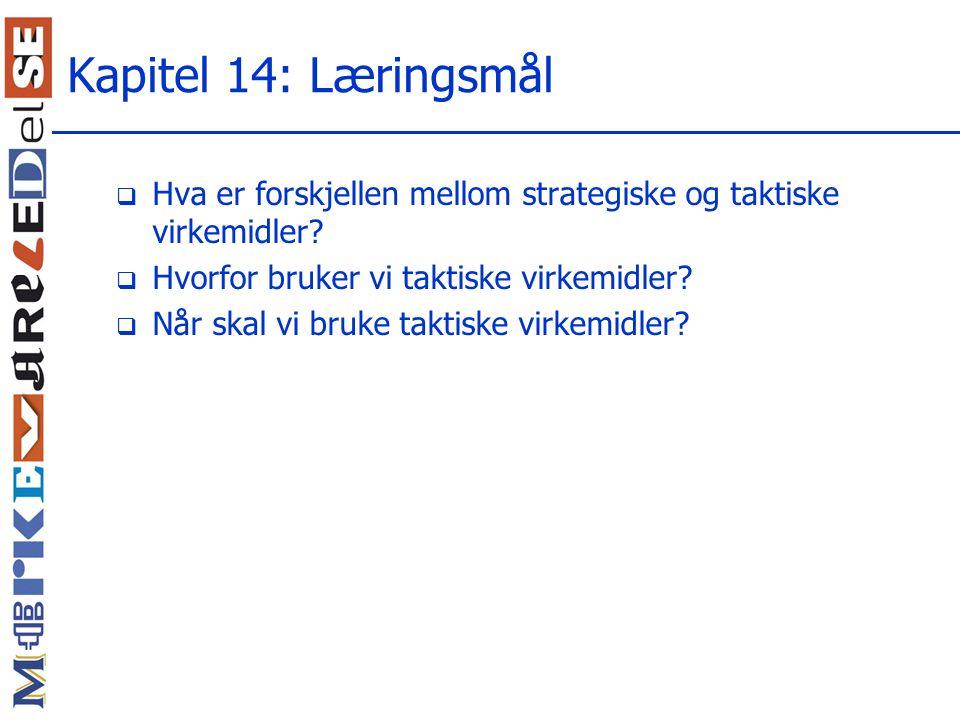 Kapitel 14: Læringsmål Hva er forskjellen mellom strategiske og taktiske virkemidler Hvorfor bruker vi taktiske virkemidler