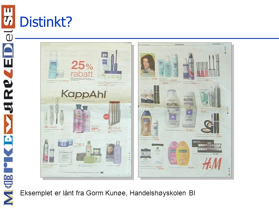 Distinkt Eksemplet er lånt fra Gorm Kunøe, Handelshøyskolen BI