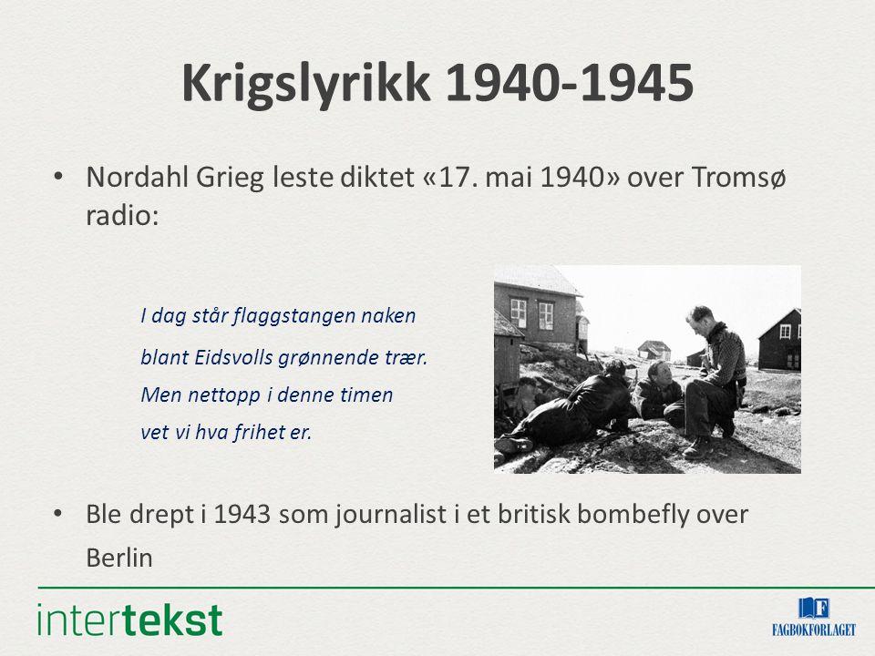 Krigslyrikk 1940-1945 I dag står flaggstangen naken