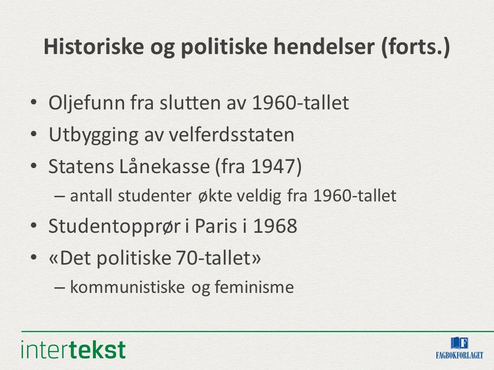 Historiske og politiske hendelser (forts.)