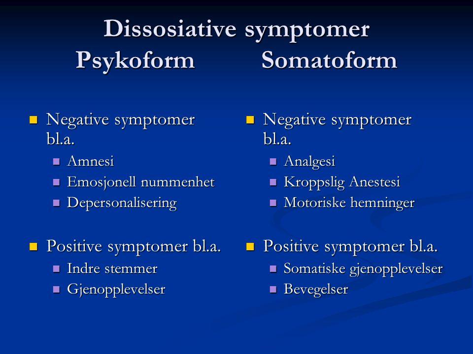 Dissosiative symptomer Psykoform Somatoform