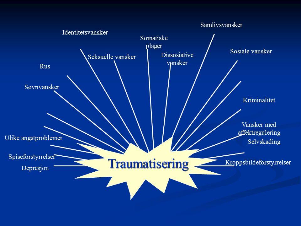 Traumatisering Samlivsvansker Identitetsvansker Somatiske plager