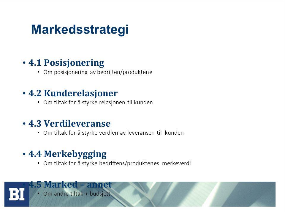 Markedsstrategi 4.1 Posisjonering 4.2 Kunderelasjoner