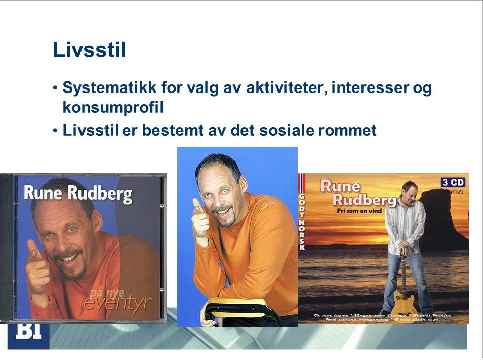 Livsstil Systematikk for valg av aktiviteter, interesser og konsumprofil.