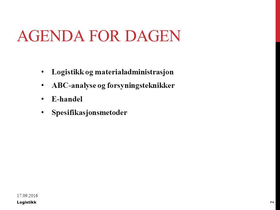 Agenda for dagen Logistikk og materialadministrasjon