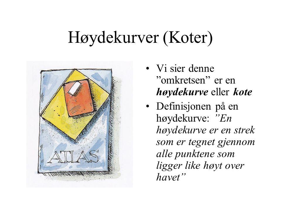 Høydekurver (Koter) Vi sier denne omkretsen er en høydekurve eller kote.