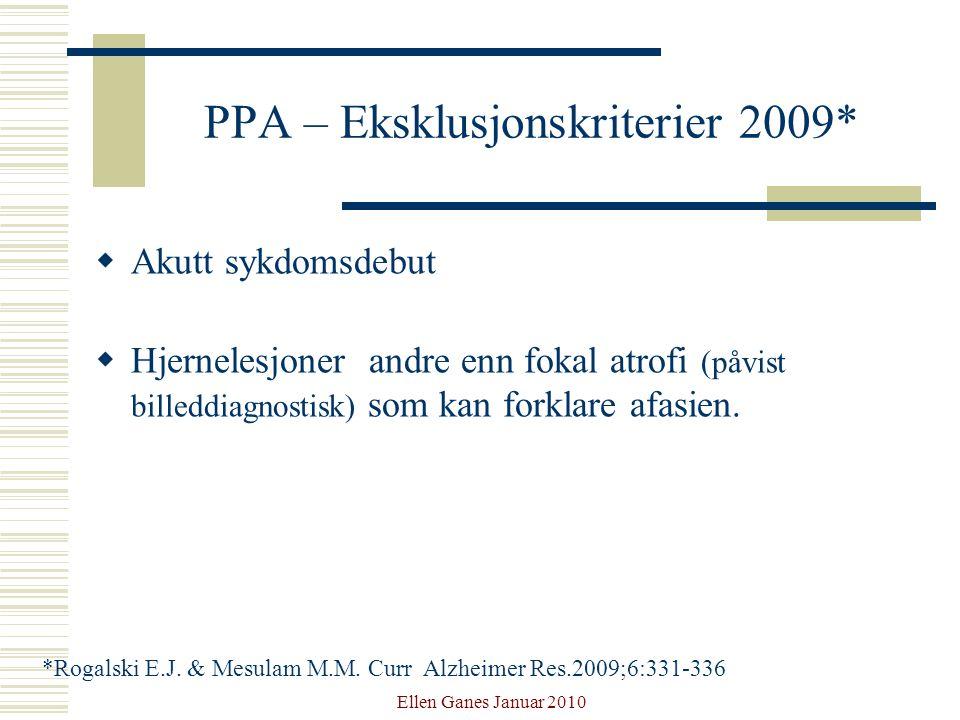 PPA – Eksklusjonskriterier 2009*