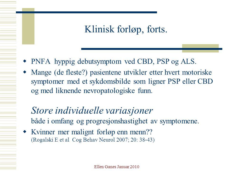 Klinisk forløp, forts. PNFA hyppig debutsymptom ved CBD, PSP og ALS.