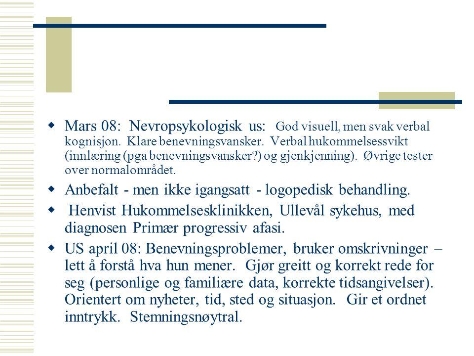Mars 08: Nevropsykologisk us: God visuell, men svak verbal kognisjon