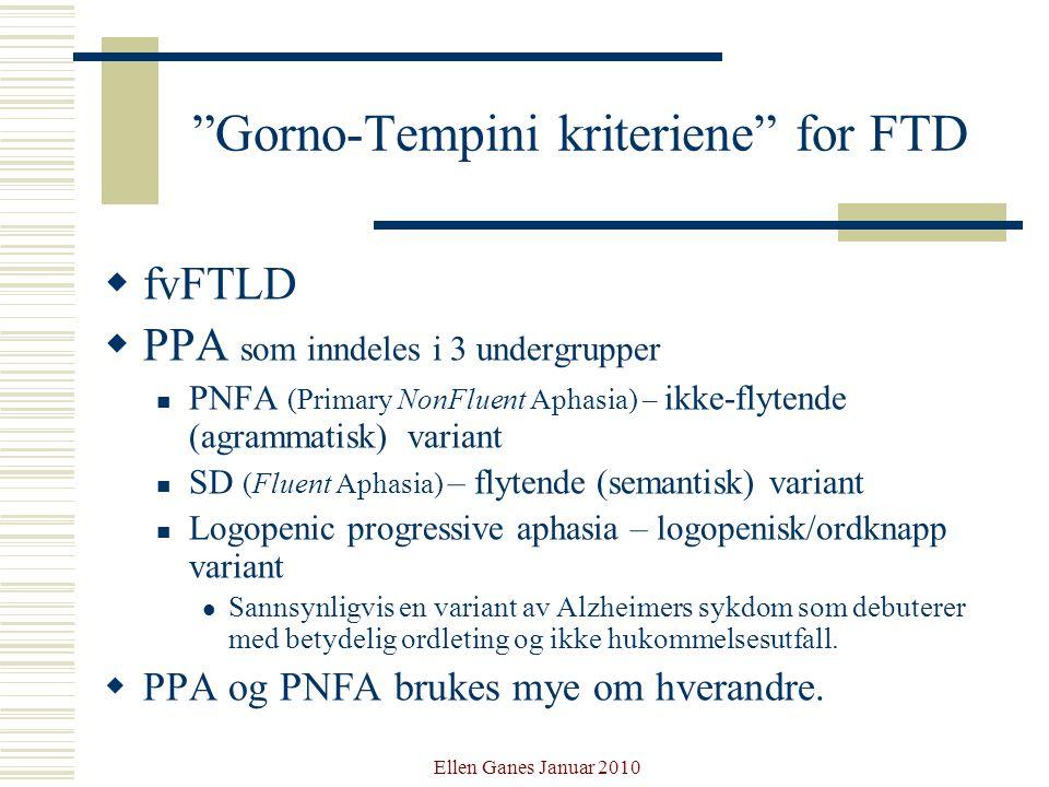 Gorno-Tempini kriteriene for FTD