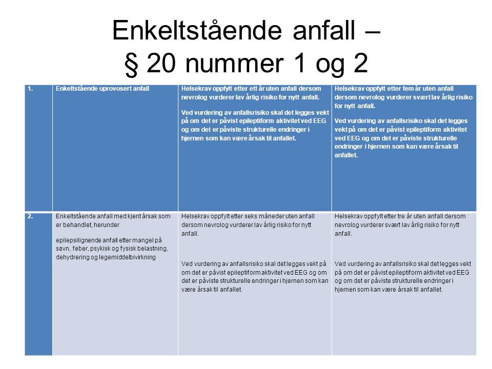Enkeltstående anfall – § 20 nummer 1 og 2