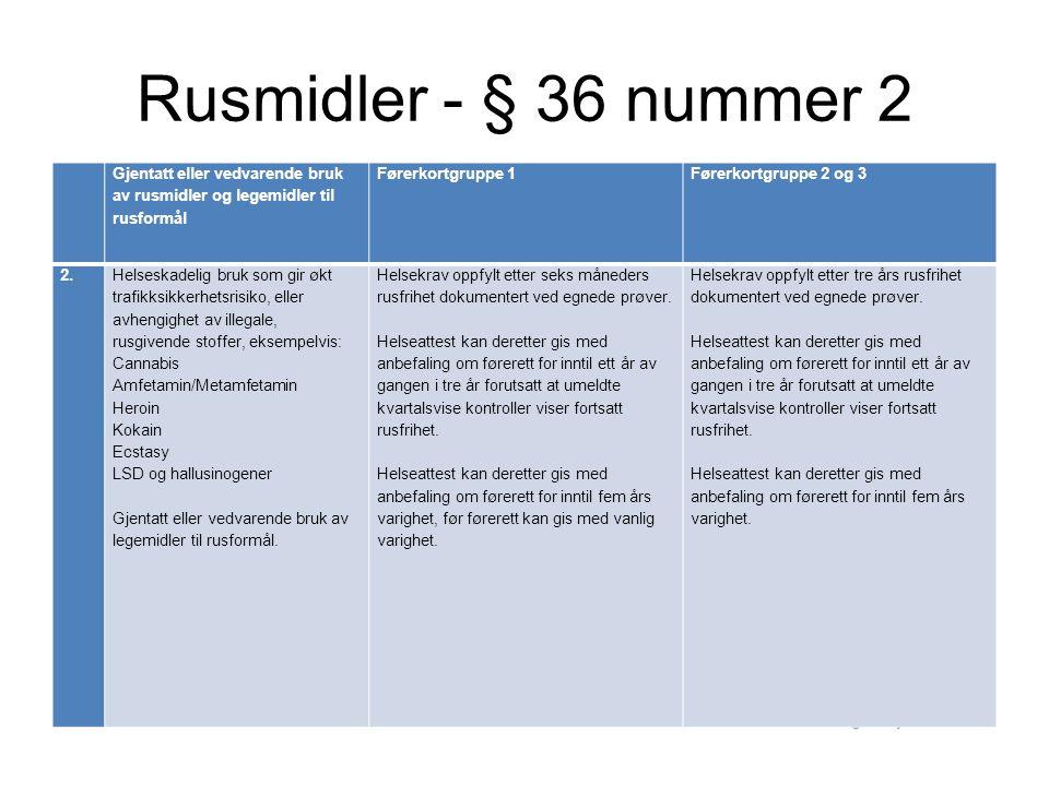 Rusmidler - § 36 nummer 2 Gjentatt eller vedvarende bruk av rusmidler og legemidler til rusformål.