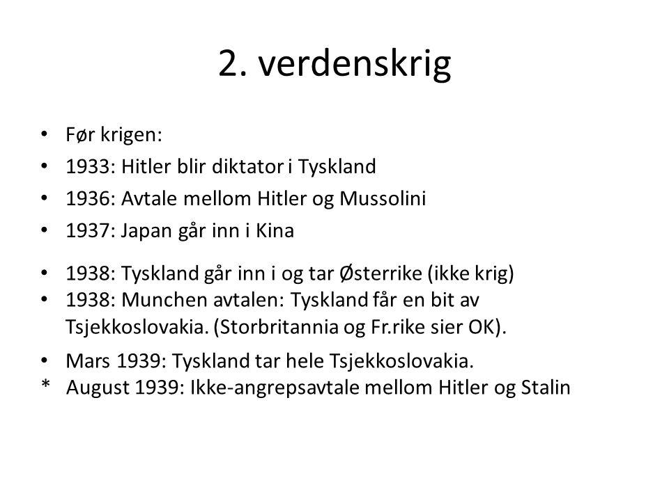 2. verdenskrig Før krigen: 1933: Hitler blir diktator i Tyskland