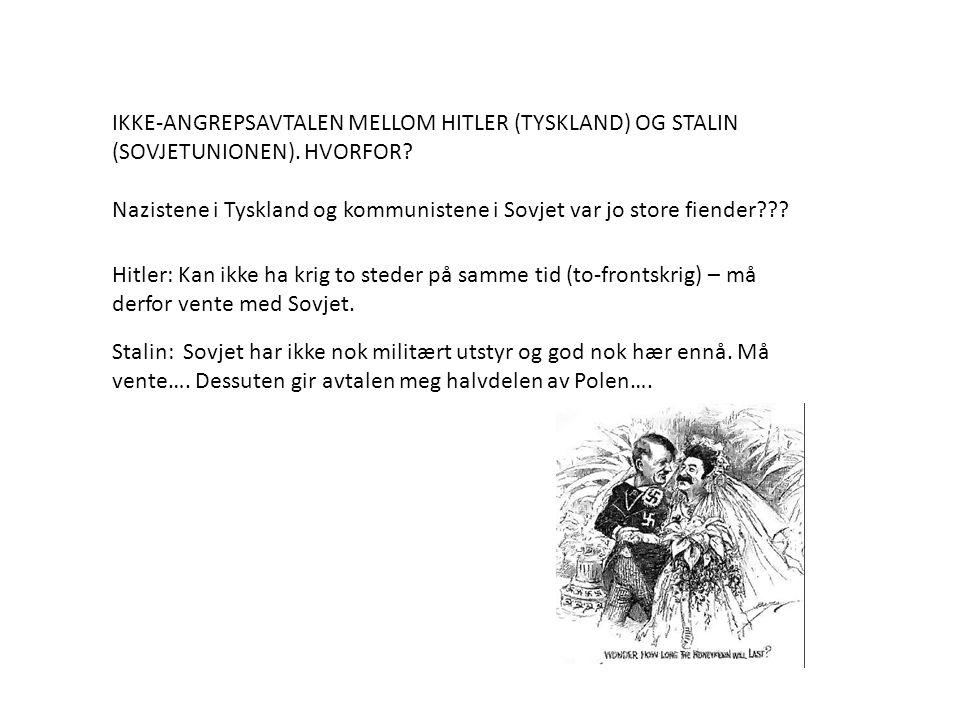 IKKE-ANGREPSAVTALEN MELLOM HITLER (TYSKLAND) OG STALIN (SOVJETUNIONEN)