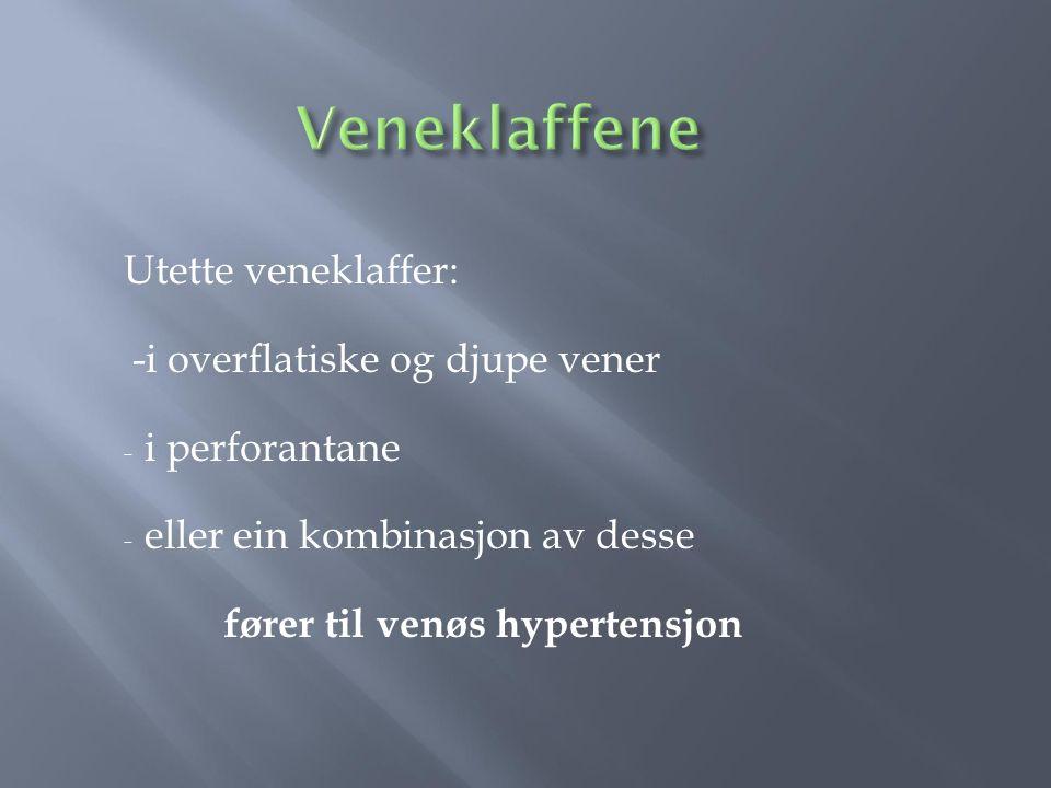 Veneklaffene Utette veneklaffer: -i overflatiske og djupe vener