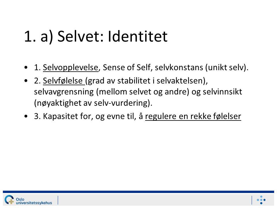 1. a) Selvet: Identitet 1. Selvopplevelse, Sense of Self, selvkonstans (unikt selv).