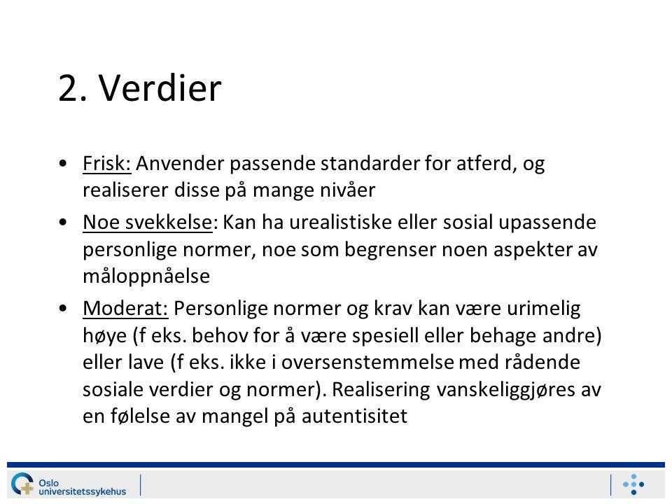 2. Verdier Frisk: Anvender passende standarder for atferd, og realiserer disse på mange nivåer.