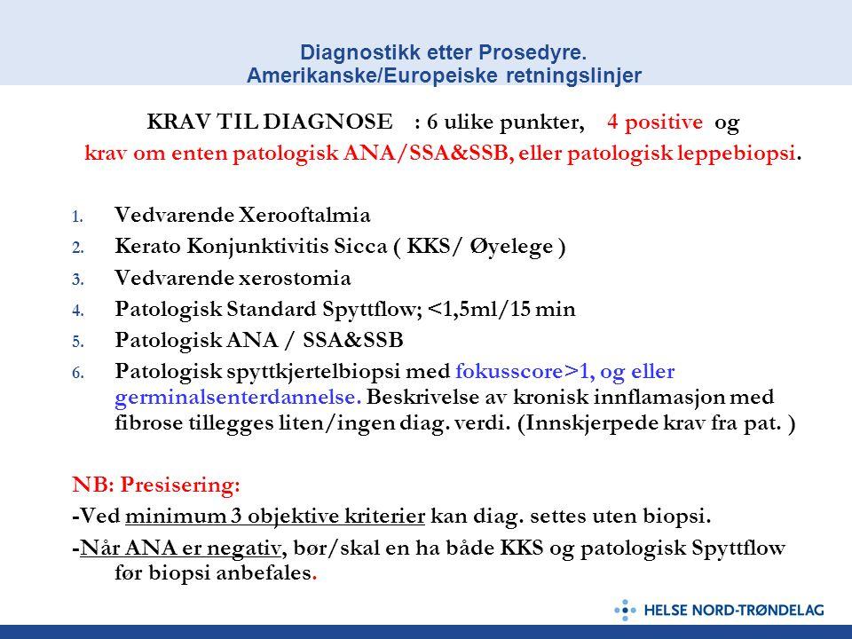 Diagnostikk etter Prosedyre. Amerikanske/Europeiske retningslinjer