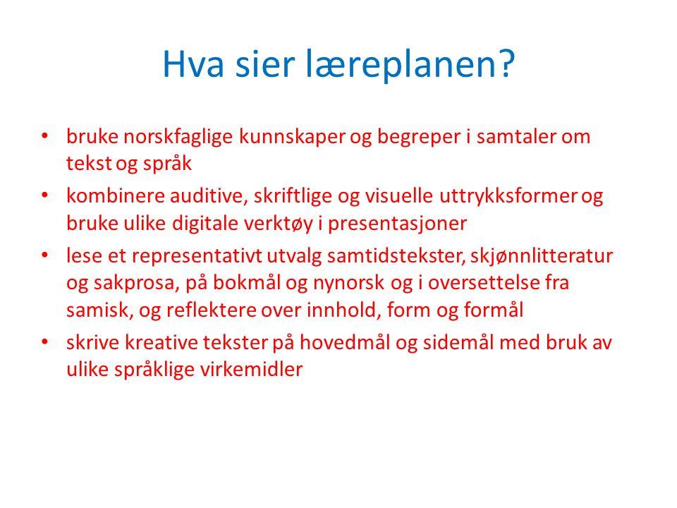 Hva sier læreplanen bruke norskfaglige kunnskaper og begreper i samtaler om tekst og språk.