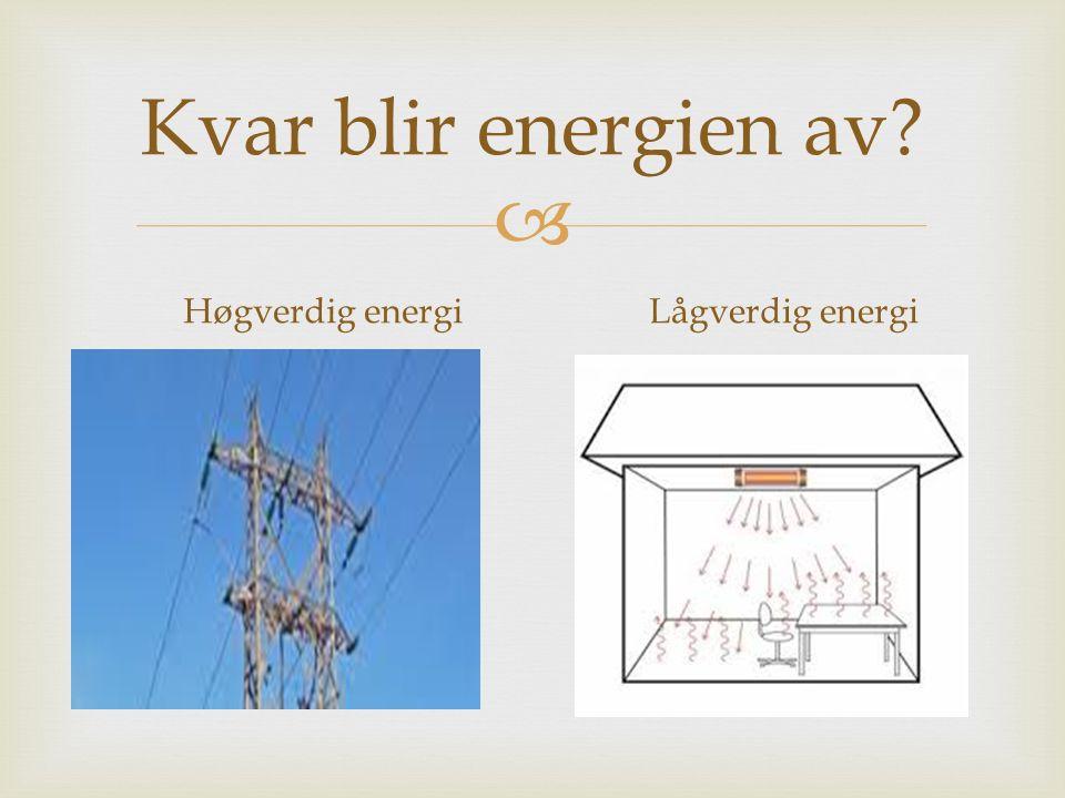 Kvar blir energien av Høgverdig energi Lågverdig energi