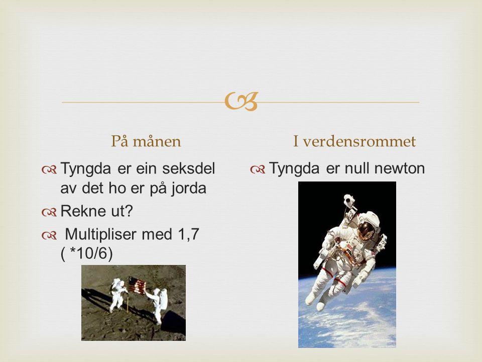 På månen I verdensrommet. Tyngda er ein seksdel av det ho er på jorda. Rekne ut Multipliser med 1,7 ( *10/6)