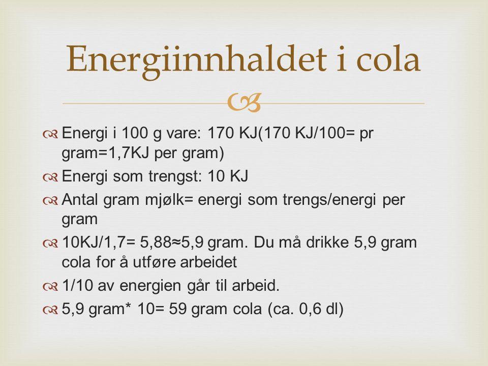 Energiinnhaldet i cola