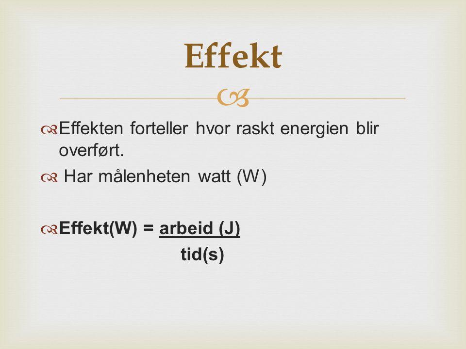 Effekt Effekten forteller hvor raskt energien blir overført.