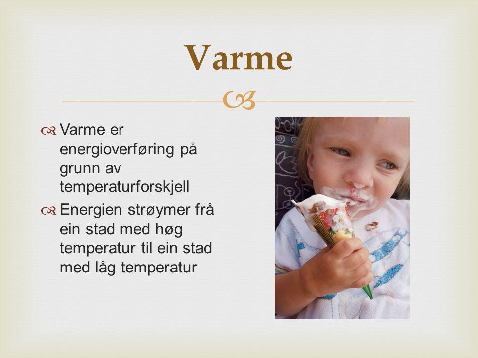 Varme Varme er energioverføring på grunn av temperaturforskjell