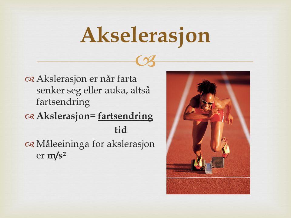 Akselerasjon Akslerasjon er når farta senker seg eller auka, altså fartsendring. Akslerasjon= fartsendring.