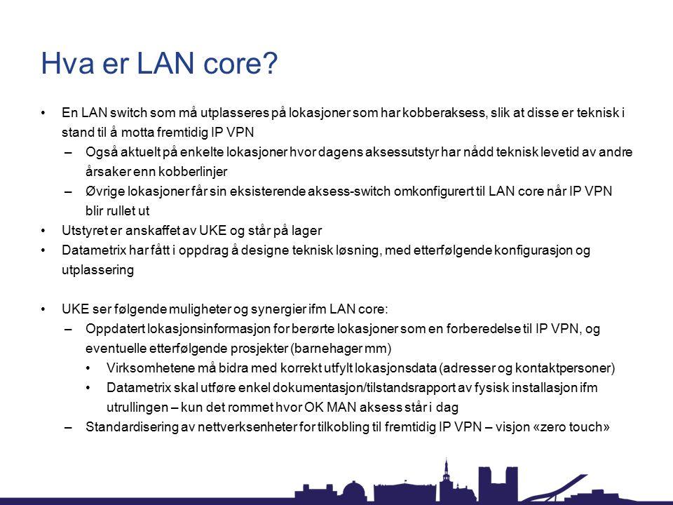 Hva er LAN core En LAN switch som må utplasseres på lokasjoner som har kobberaksess, slik at disse er teknisk i stand til å motta fremtidig IP VPN.