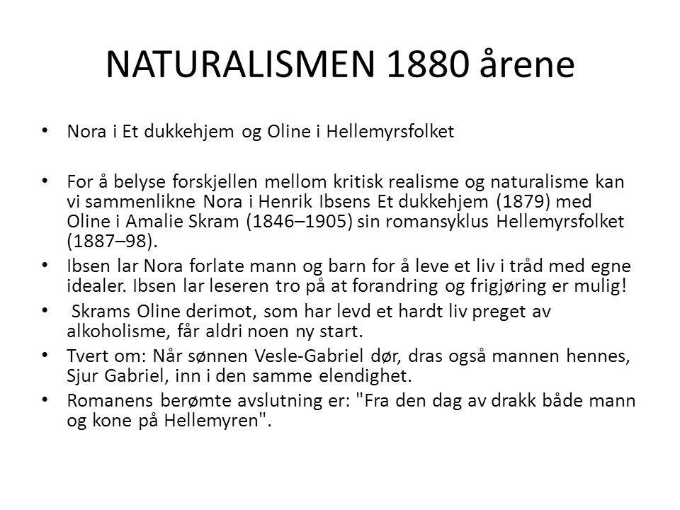 NATURALISMEN 1880 årene Nora i Et dukkehjem og Oline i Hellemyrsfolket