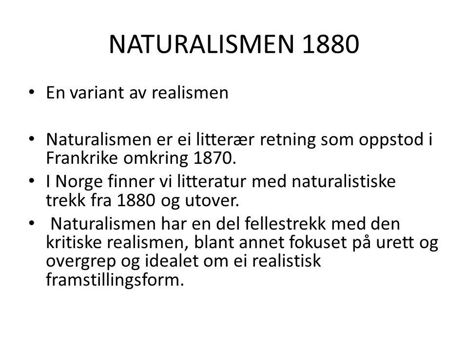 NATURALISMEN 1880 En variant av realismen