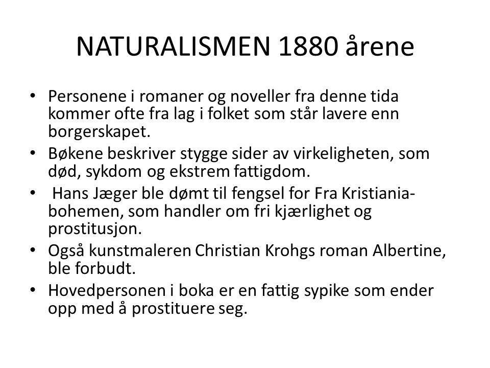 NATURALISMEN 1880 årene Personene i romaner og noveller fra denne tida kommer ofte fra lag i folket som står lavere enn borgerskapet.