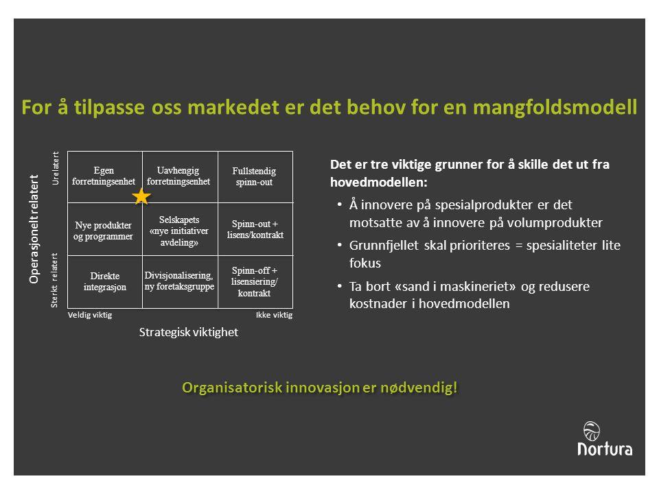 For å tilpasse oss markedet er det behov for en mangfoldsmodell