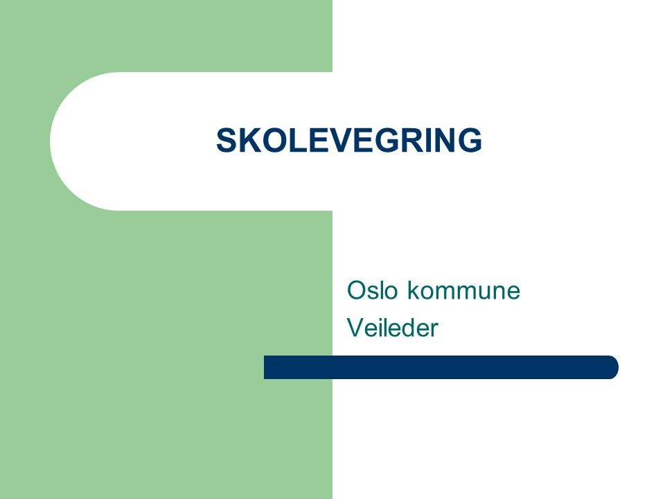 SKOLEVEGRING Oslo kommune Veileder