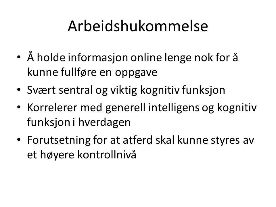 Arbeidshukommelse Å holde informasjon online lenge nok for å kunne fullføre en oppgave. Svært sentral og viktig kognitiv funksjon.