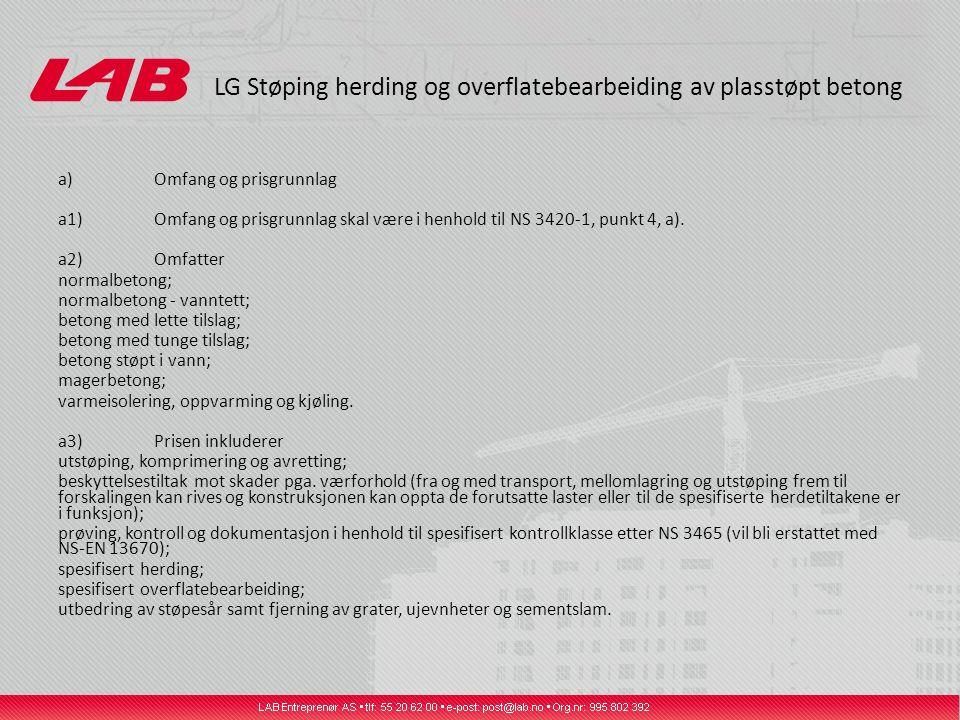 LG Støping herding og overflatebearbeiding av plasstøpt betong