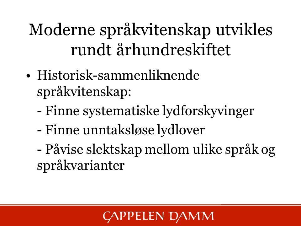 Moderne språkvitenskap utvikles rundt århundreskiftet