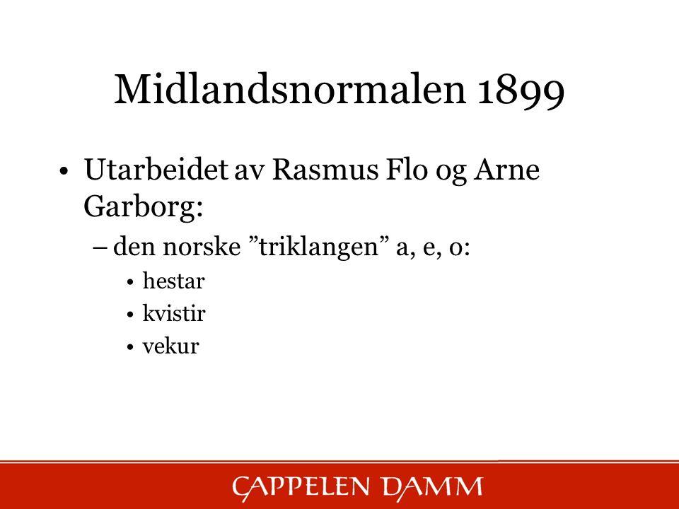 Midlandsnormalen 1899 Utarbeidet av Rasmus Flo og Arne Garborg: