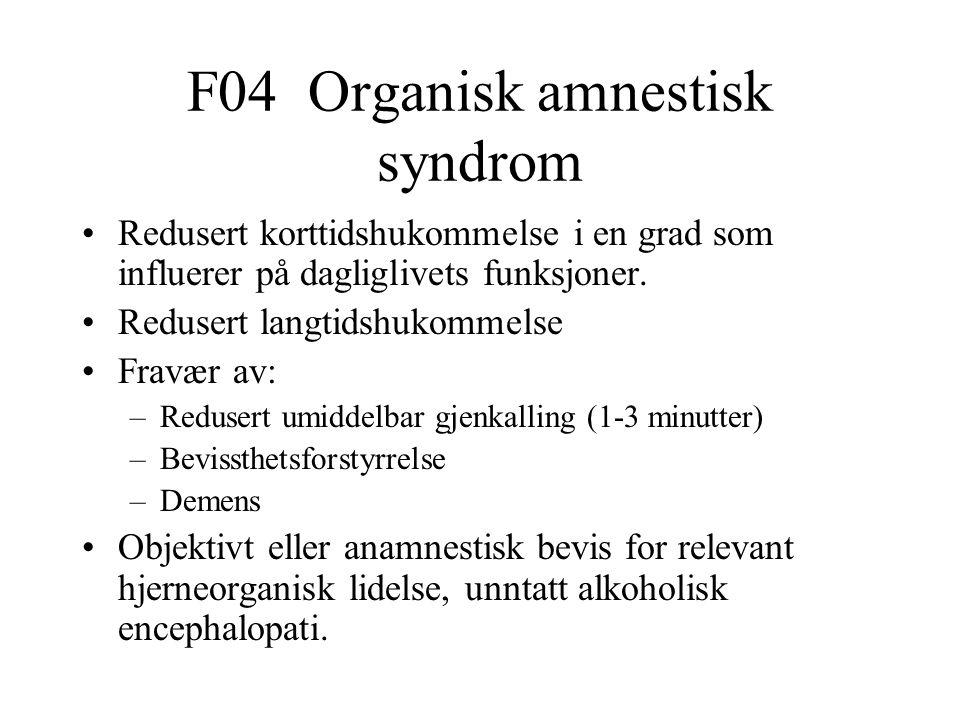 F04 Organisk amnestisk syndrom